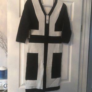 A black and white ny & company light sweater dress